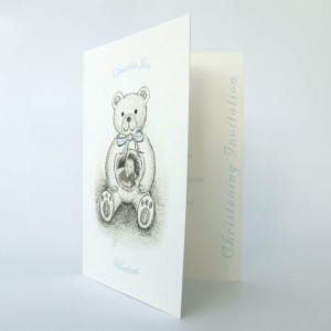 Christening invitation bear with blue bow