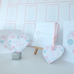 Heart Pendant Save The Date, RSVP Card & Placename Card