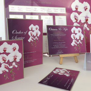 Radiant Orchids Order of Service, Invitation and Save The Date card
